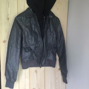 Dark grey faux leather hooded jacket